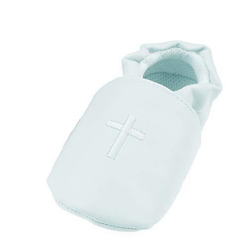 Baby Meisjes Jongens Lederen Kijk Wit Kruis Geborduurd Doop Slip Op Schoenen Booties Pale Blue 13 Kleur: wit