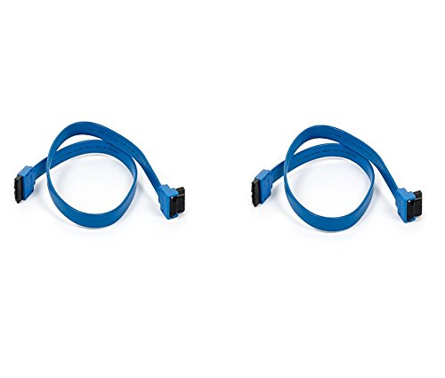 2 Pack, 18 inch SATA 6Gbps Cable w/Locking Latch 90 Degree to 180 Degree Blue, CNE533261
