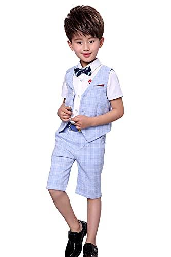 4 Piezas Traje Corto de Boda para niños, Conjunto de Ropa de Ceremonia, Camisa + pantalón + Chaleco + Pajarita, Cheque Azul, 130