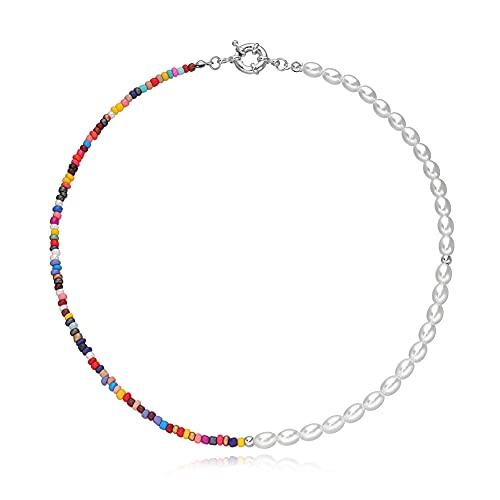 JAWSEU Collar de Cuentas de Arroz de Colores a La Moda para Mujer, Collar Gargantilla de Cuentas Boho de Colores Joyería de Cadena para Mujeres Y Niñas 45CM Plata