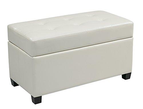 Office Star Metro Vinyl Storage Ottoman with Espresso Finish Legs, White