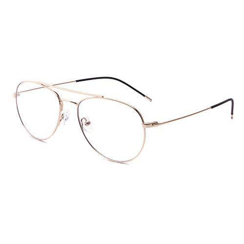 DONGDI Blaulicht-blockierende Brille, blendfrei, UV400-Filter, Titan-Metall-Fliegerrahmen, leicht, Computer-Gaming-Brille für Damen und Herren