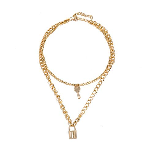 chenyou Pendant Double Layers Lock Necklace Punk Link Chain Padlock Key Pendant Necklaces Women Fashion Gothic necklace (Metal Color : Gold)