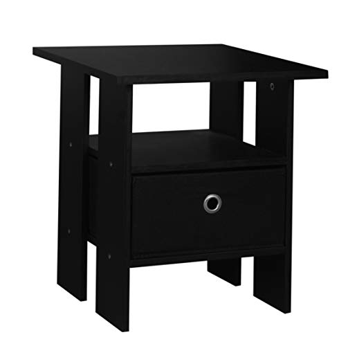 URBNLIVING 3 Tier Black Wooden Modern Side End Table With Colourful Drawer (Black)