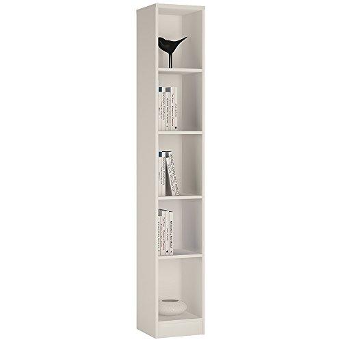 Furniture To Go 4 You - Libreria Alta e Sottile, in melammina, 30 x 190 x 35 cm Bianco Perla