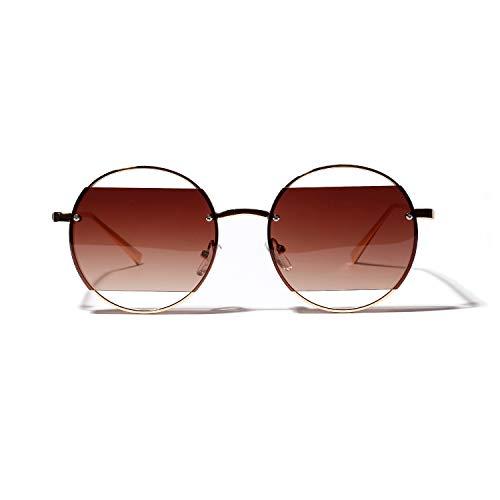 Sonnenbrille, Retro-Stil, Perfekter Kreis, UV-Schutz, große Hohle Box, farbige Gläser für Party-Dekoration, Sport und Outdoor, Coffee