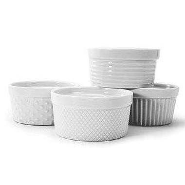 BIA Cordon Bleu White Porcelain Textured 5 ounce Ramekins - Set of 4