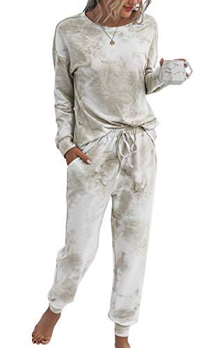Spec4Y Pyjama Damen Zweiteilige Nachtwäsche Tie Dye Druck Langarm Oberteil Lang Hose Schlafanzug Loungewear mit Taschen 2035 Khaki Large