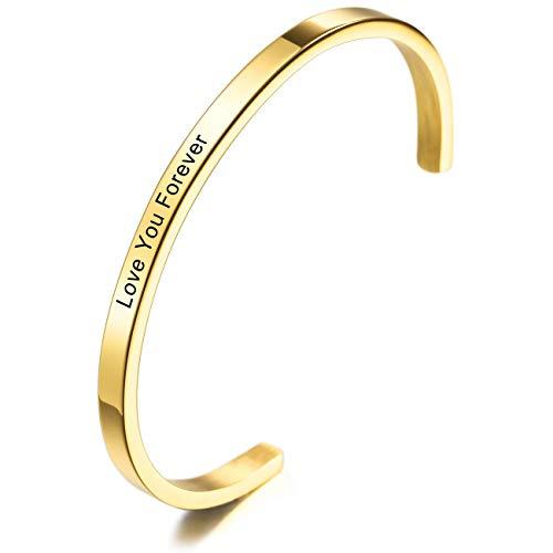MeMeDIY Personalisierte Armband Gravur Name Identifizierung ID Angepasst für Männer Frauen Mädchen Jungen Wasserdicht Edelstahl Einstellbare Stulpearmband (4mm Breite, Gold Farbe)