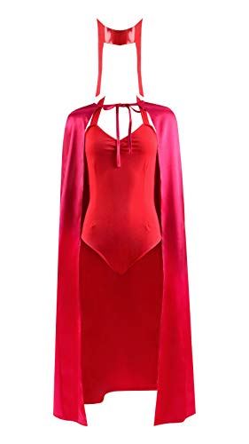 Womens Wanda Maximoff Cosplay Costume Set Scarlet Witch Cosplay Red Jumpsuits Cloak Headwear Suit Halloween Cosplay Outfits (Medium, Suit 2)