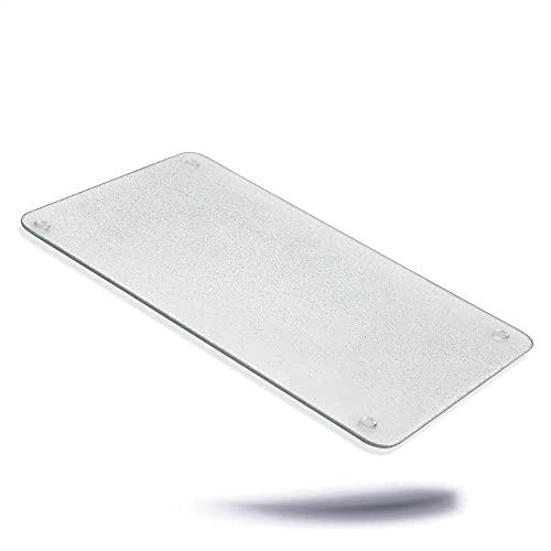 Kerafactum Planche à découper en verre transparent - Dimensions : 30 x 20 x 0,4 cm - Planche à découper en verre pour couper et servir des aliments - Couverture de cuisinière
