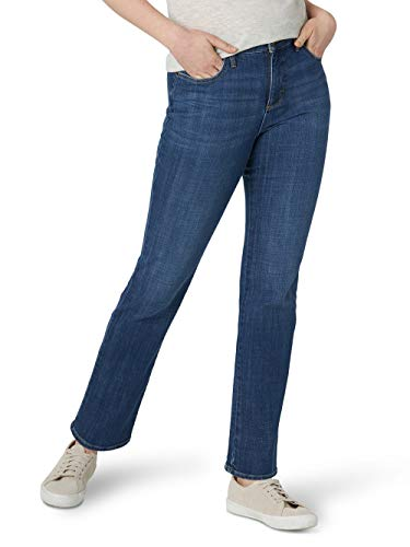Lee Instantly Slims Classic Relaxed Fit Monroe Straight Leg Jean Jeans, Laguna Azul, 46 Largo para Mujer