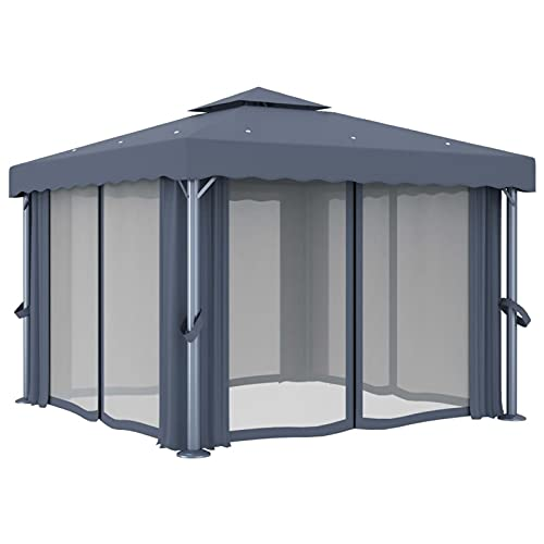 Tidyard Cenador con Cortina Carpa Toldo Tienda para Fiestas Eventos Carpa de Terraza Jardín Exterior Carpa Gazebo Gris Antracita Aluminio 3x3 m