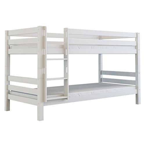 furnneo Etagenbett Weiß, Hochbett Buche massiv, 90x200 cm, teilbar