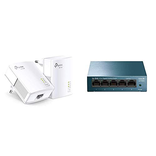 TP-Link TL-PA7017 Kit Powerline, AV1000 Mbps su Powerline, 1 Porta Gigabit, Plug and Play & LS105G Switch Ethernet 5 Porte Gigabit, Sdoppiatore Ethernet, Struttura in Metallo