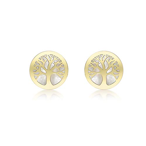 Carissima Gold 9 ct Yellow Gold Mother of Pearl Tree of Life Stud Earrings, 8 mm