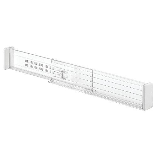 iDesign Separadores de cajones ajustables, organizador de cajones profundos de plástico, juego de 2 divisores de cajones para la cocina, transparente