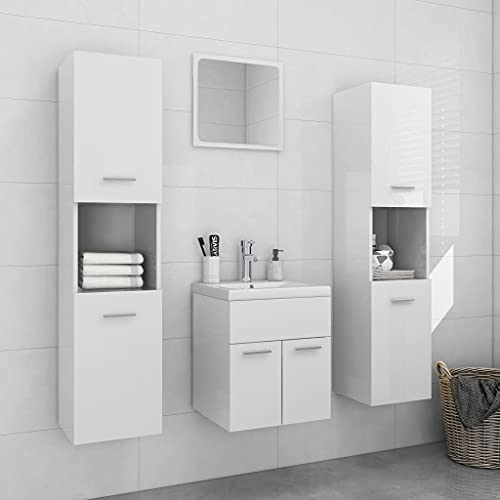 FAMIROSA Conjunto de Muebles de Baño Aglomerado Blanco Brillante-1492