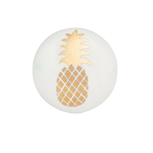 Set of 6 Gold Pineapple Ceramic Knobs - Decorative Cabinet Pulls for Cabinets, Dressers and Drawers – Handmade Drawer Knobs for Bathroom Fixtures, Bedroom, Living Room, or Kitchen Cabinetry by Artisan