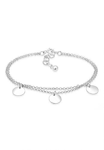 Elli Armband Damen Kreis Layer Geo Plättchen in 925 Sterling Silber