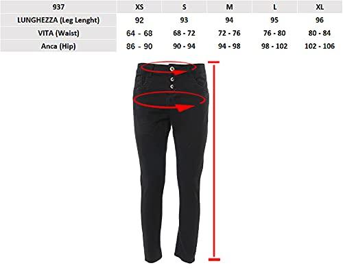 JOPHY & CO. Pantalone Jeans Denim Donna Cinque Tasche in Cotone Elasticizzato (cod.937) (Grigio, XL)