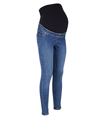 2k19Sep New Look Ladies Womens Blue Over Bump Maternity Skinny Stretch Jeans Jeggings [Mid Wash, 10]
