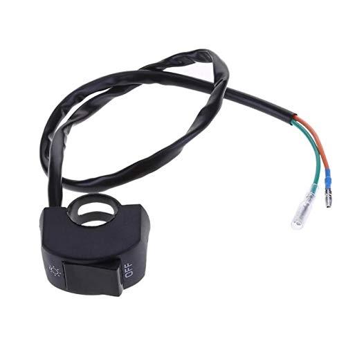 U/D 12V 22mm 2 Cables Manillar de la Motocicleta de Encendido/Apagado Botón de Interruptor LED de Niebla de la Linterna de la lámpara Car Styling (Color : Negro, Size : Gratis)