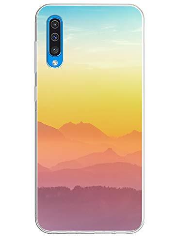 Oihxse Transparente Silicona Case Compatible con Samsung Galaxy M30 Funda Suave TPU Protección Carcasa Moda Dibujos Animados Divertida Diseño Ultra-Delgado Cubierta-Montaña