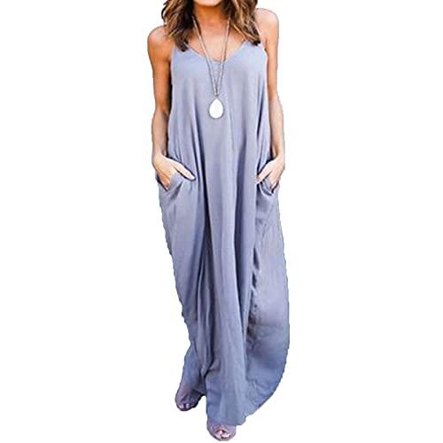 Damska lato zwykła flowle sukienka casual luźna plaża pokrywa długimi sukienki maxi Letnie ubrania na co dzień (Color : Grey, Size : X-Large size)