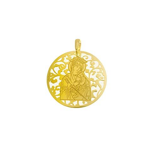 Medalla Virgen del Perpetuo Socorro de Almoradí en Plata de Ley Cubierta de Oro de 18kt