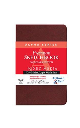 Stillman & Birn Alpha Series Softcover Sketchbook, 3.5' x 5.5', 150 gsm (Heavyweight), White Paper, Medium Grain Surface