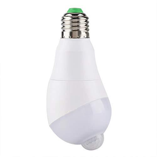 Demeras Lámpara con Sensor de Movimiento E27, lámpara con Sensor de Movimiento LED de Alto Brillo Lámpara con Sensor de Movimiento para Cocina para baño(Warm White E27, 7w)