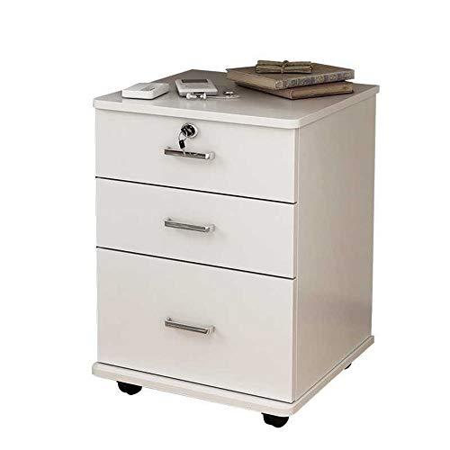 Rollcontainer Mobiler Aktenschrank aus Eisen mit großer Kapazität und Diebstahlsicherung Vollständig montierte, mehrschichtige Schublade - Weiß für das Home Office