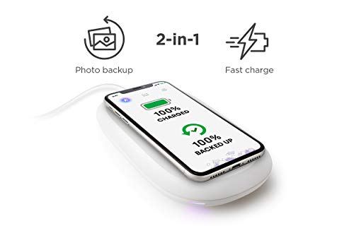 SanDisk iXpand Wireless Charger 128 GB, 10 W Fast Wireless Charger with Photo Backup for Qi-Compatible Phones (iPhone XS MAX/XR/XS/X/8/8 Plus, Galaxy S10/S10 Plus/S10E/S9, 5 W and Other Phones)