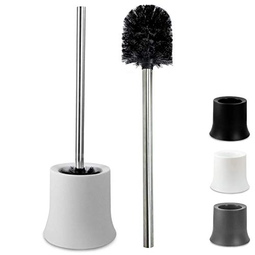 Klinoo Premium toalettborstset, svart borsthuvud med handtag i rostfritt stål, rostbeständig toalettborste, ersättande toalettborste. Bürste + Behälter (weiß) Svart