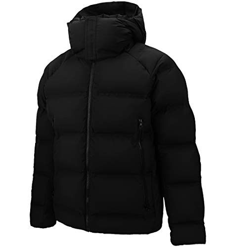 Men's Thickened Down Jacket Super Warm Winter Puffer Jacket Snow Coat Hooded,800 Fill Power (Black,Large)