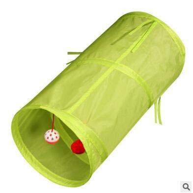 527BL Jouet pour Chat Pet Supplies Bague Doux Papier bidirectionnelle Tunnel Pliable pour Animal Domestique Chat perceuse Corps Pliable Chiffon Corps Jouet à Suspendre avec Deux Balles