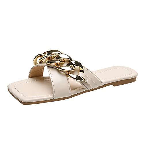 Sandalias Mujer Planas Casual Aire Libre Sandalias de Vestir con Punta Abierta Cuadrado para Playa Zapatillas Mujer casa Zapatos Verano Mujer Antideslizante cómodo Sin Cordones