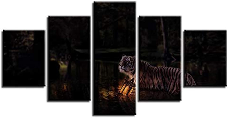 hasta 42% de descuento RMRM Fotos de Lienzo Cartel Cartel Cartel Modular Impresiones HD 5 Unidades Animales Tigre Vista Nocturna Pinturas Art Frame Modern Decor For Living Room Wall 20x35cm20x45cm 20x55cm  hasta un 65% de descuento