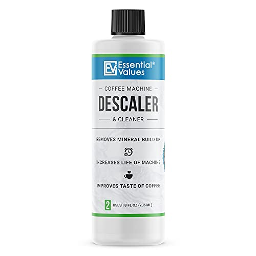 Essential Values Universal Descaling Solution (2 Uses Per Bottle), Designed For Keurig, Nespresso, Delonghi and All Single Use Coffee and Espresso Machines - Proudly Made In USA