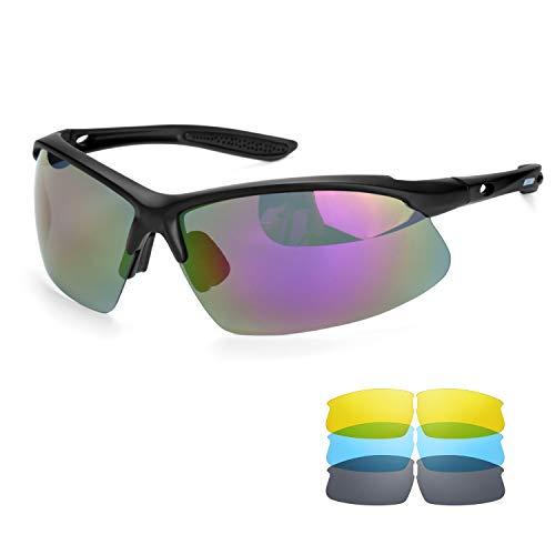 BECOSIM Radsportbrille Polarisierte Sonnenbrille mit austauschbaren Gläsern für Damen und Herren, Retro-Sonnenbrille für Laufen, Skifahren, Autofahren, Angeln, Wandern, Outdoor-Sportbrillen