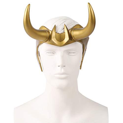 Loki Helm mit Hörnern, Thor Ragnarok Krone, nordische Mythologie, Halloween-Kostüm, Maske, Zubehör, Kopfbedeckung, Requisiten, Gelb
