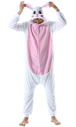 Pijama Animal Entero Unisex para Adultos con Capucha Cosplay Pyjamas Ropa de Dormir Kigurumi Traje de Disfraz para Festival de Carnaval Halloween Navidad Blanco Conejo