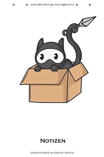 Ninja Katze im Karton Notizbuch: Punkteraster Notizbuch für Fans der leisen Spione Japans