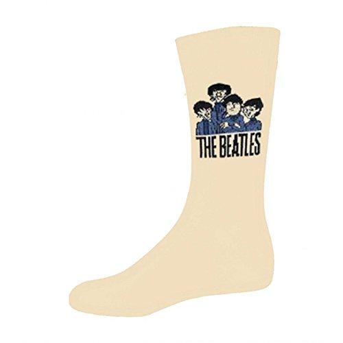 The Beatles Socken Cartoon Group Band Logo offiziell Herren Nue Beige UK Size
