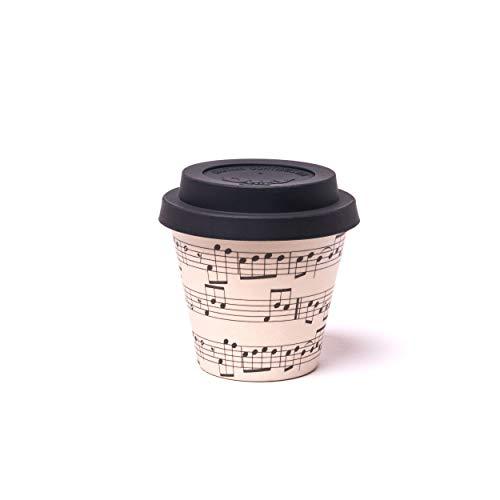 QUY CUP Taza de Café Espresso de Bambú - 90ml. Opera.Taza Reutilizable para Viaje. Exclusivo Diseño Italiano. Hecha de Fibra Natural. Sin BPA. Café para Llevar