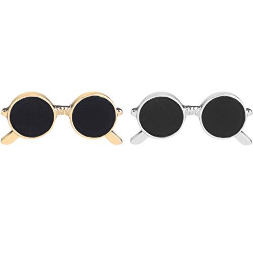 CoSunny Gafas de sol Solapa Pin Set 2 Piezas Broche Pin Traje Camisa Collar Mochila Accesorios Regalos Oro Plata