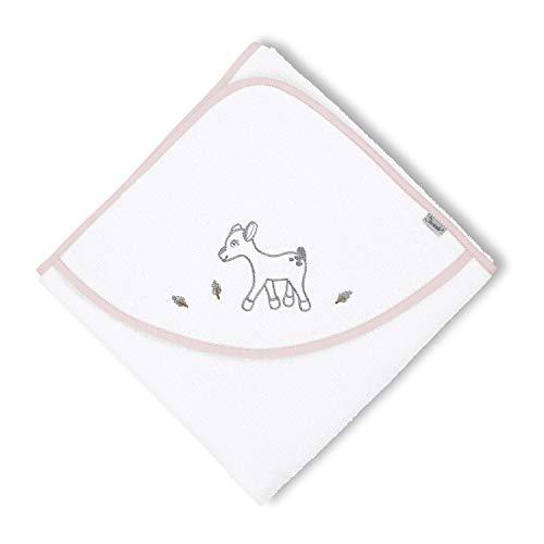 Sterntaler Serviette de bain à capuche Waldis Rosie, Âge: à partir de 0 Mois, 100 x 100 cm, Blanc