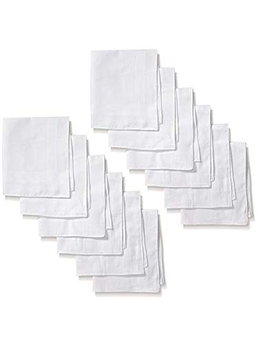 Men's White Cotton Soft Finish 12 Pack Handkerchiefs