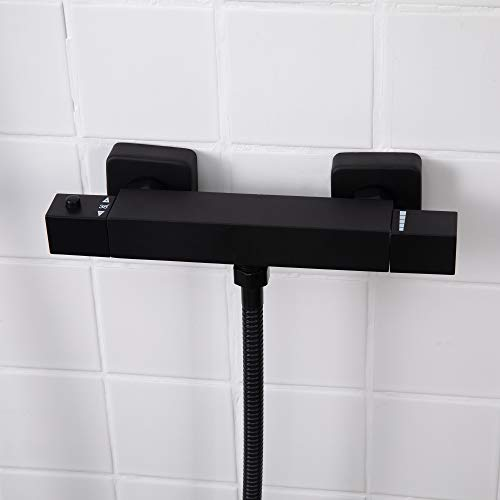 SCHWÄNLEIN® Thermostatbatterie dusche set,Brausebatterrerie,Brausemischer (Thermostat Brausebatterie schwarz eckig)